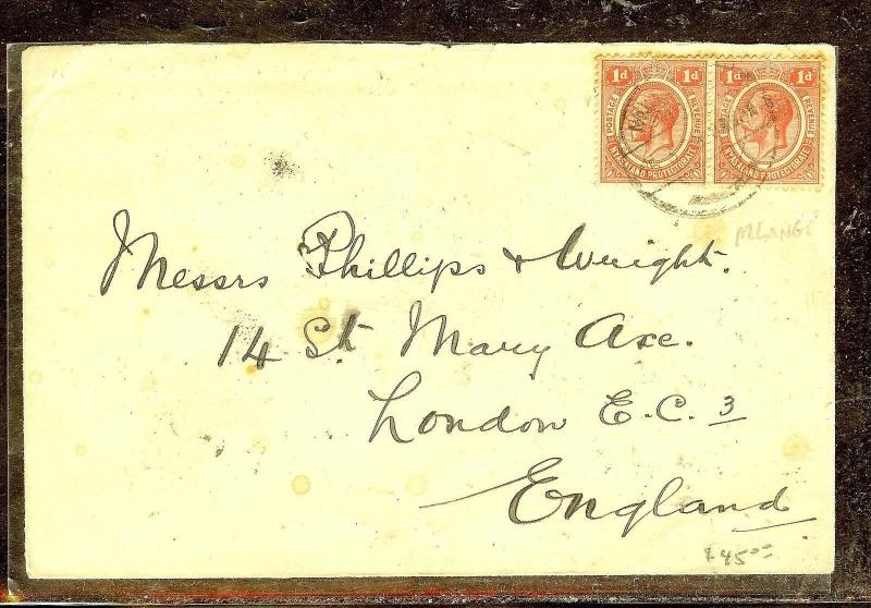 NYASALAND (P1210B) KGV 1D PR COVER FROM MLANGE TO ENGLAD