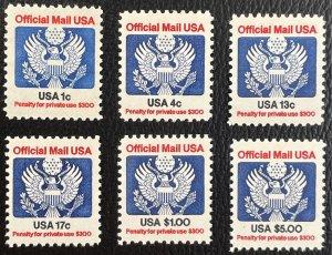 US #O127-O133 MNHOG Official Mail - Mint / No Hinge 1983 SCV~$13.30 [US48.2.1]