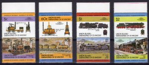 Union Island-Grenadines St.Vincent 1984 LOCOMOTIVES 1st.series (8v) 4 pairs MNH