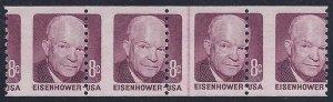 1402 Misperf Error / EFO Line Strip of 4 Dwight D. Eisenhower Mint NH