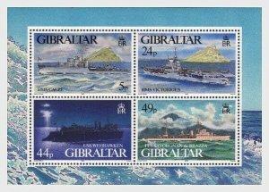 1995   GIBRALTAR  -  SG. MS 748 - WARSHIPS (3) -  UNMOUNTED MINT