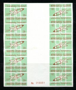 x507 - GERMANY 1960s Perpignan Rocket Mail Label / Vignette Sheet of 10. MNH