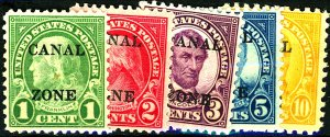 CANAL ZONE #100-104 MINT MIXED CONDITION