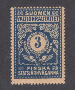 Finland HS 49 var MLH. 1920 3mk Railway Stamp, perf 14