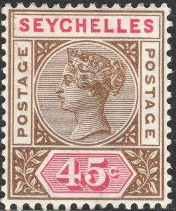 SEYCHELLES-1893 45c Brown & Carmine Sg 25 AVERAGE MOUNTED MINT V50063