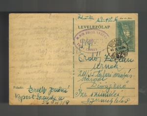 1940 Budapest Hungary Postcard Cover to Diosjeno Ghetto Judaica Jerone Erdos