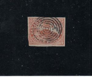 CANADA # 4 3d BEAVER IMPERF WITH NICE CIRCLES CANCEL CAT VALUE $300+