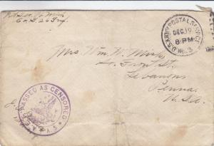 1917, APO 3, to Lebanon, PA, Censored (M2287)