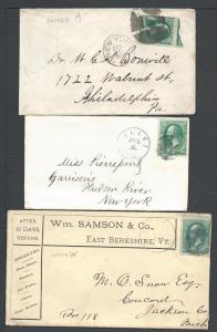 Scott 158, Fancy Letter, Three Envelopes, Banknote Issues