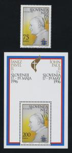 Slovenia 253-4 MNH Visit of Pope John Paul II