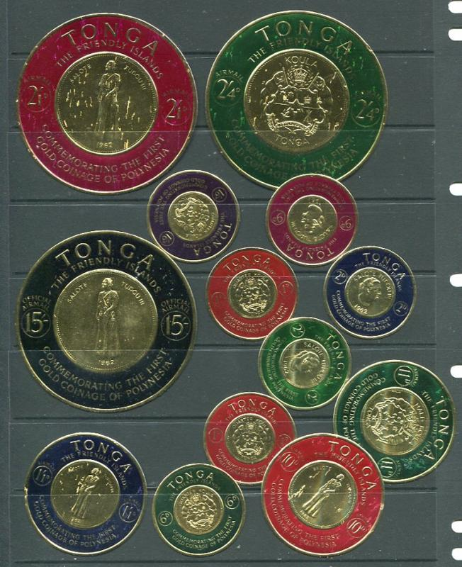 TONGA Polynesia Gold Coin Commemorative Stamps set of 15    6113