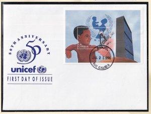Gambia   #1804   FDC  sheet  1996  Unicef 50 years