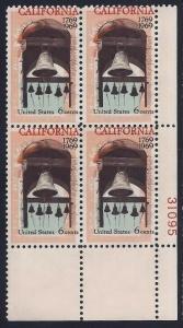 1373 - Color Shift Error / EFO Plate Block California Settlement Mint NH