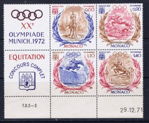 Monaco 839a NH 1972 Olympics Block of 4 with labels