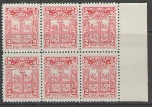 NEWFOUNDLAND SG96 1910 2c ROSE-CARMINE MNH BLOCK OF 6