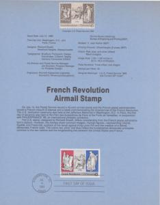 1989 FRENCH REVOLUTION AIRMAIL FDC SOUVENIR PAGE