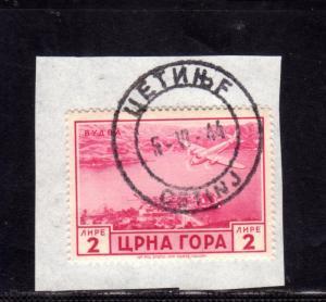 MONTENEGRO 1943 SERTO DELLA MONTAGNA POSTA AEREA AIR MAIL LIRE 2 USATO SU FRA...