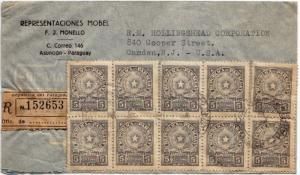 Paraguay 5c Coat of Arms (10) c1948 Asuncion, Paraguay Airmail Registered to ...