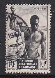 French Equatorial Africa     #181   used   1946   boatman  10fr