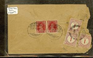 MALAYA JOHORE (P1312B) INCOMING POSTAGE DUE 1CX3 ON COVER 1939