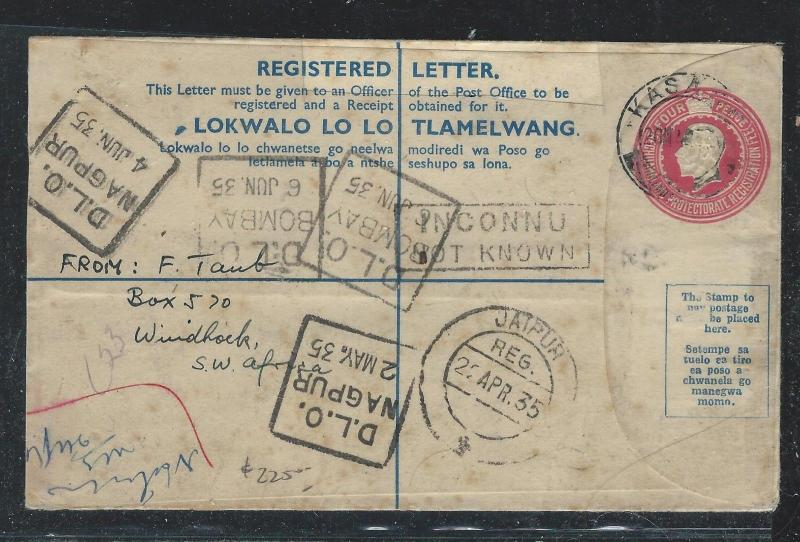 BECHUANALAND (P2712B) 1935 KGV 4D RLE TO INDIA, DLO OFFICE UNKNOWN, RETURNED