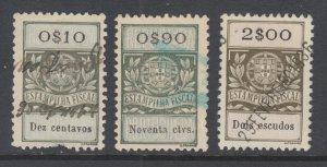 Portugal, Gerais, Barata 1346,1354,1357 used. 1929 General Revenues, 3 different