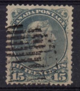 Canada Sc 30 1868 15  large Queen Victoria stamp used