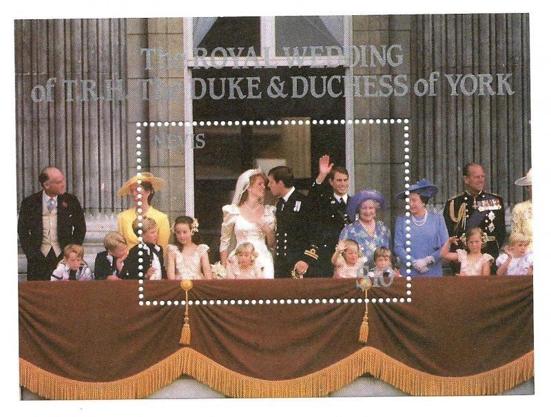 Nevis MNH S/S 500 Royal Wedding Prince Andrew & Sarah Ferguson 1986 SCV 4.25