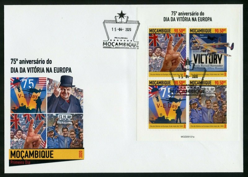 MOZAMBIQUE 2020 75th ANNIVERSARY OF VE DAY SHEET FDC