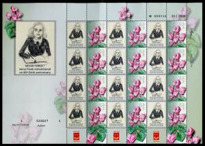 ISRAEL 80th BIRTH ANNE FRANK  ON FLOWER PERSONALIZED SHEET ENGLISH INSCRIPTIONS
