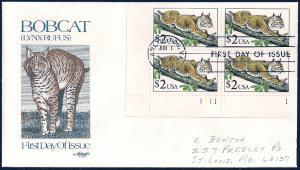 UNITED STATES FDC $2 Bobcat PLATE BLOCK 1990 Artmaster