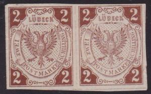 GERMANY LUBECK An old forgery of a classic stamp - a pair...................2180
