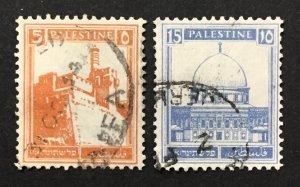 Palestine 1927-42 #63,67, Views, Used.