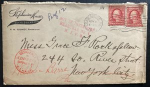 1911 Coatesville PA USA Commercial Cover To New York USA Deficiency In Address