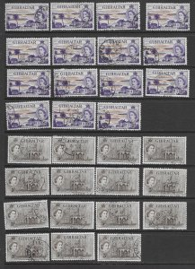 Gibraltar 142-3 used copies x 15 each, f-vf. see desc. 2020 CV$315.00