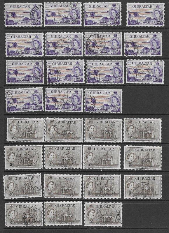 Gibraltar 142-3 used copies x 15 each, f-vf. see desc. 2020 CV$315.00