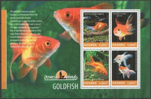 UG015 2014 UGANDA GOLDFISH FISHES FAUNA DOMESTIC ANIMALS #3280-3283 MNH