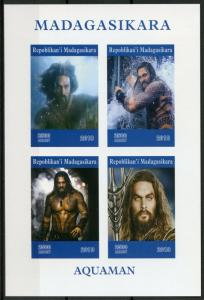 Madagascar 2019 MNH Aquaman Jason Momoa 4v IMPF M/S Movies Superheroes Stamps