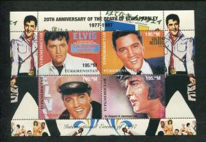 Turkmenistan Commemorative Souvenir Stamp Sheet Elvis Presley 20th Anniversary