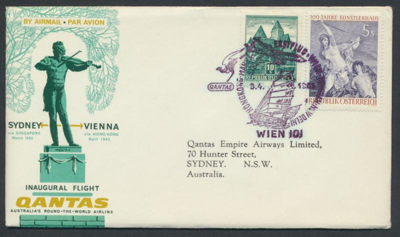 1965 Qantas First Flight Cover - Vienna  Sydney AAMC 1543 SPECIAL - please re...