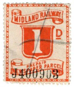 (I.B) Midland Railway : Prepaid Newspaper Parcel 1d