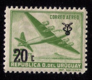Uraguay (1960) Scott #C206 MH Surchage 20c over 27c AIRMAIL.VF
