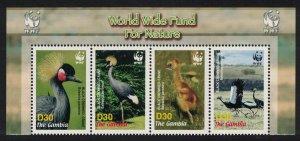 Gambia Birds WWF Black Crowned Crane Strip of 4v WWF Logo SG#4920-4923