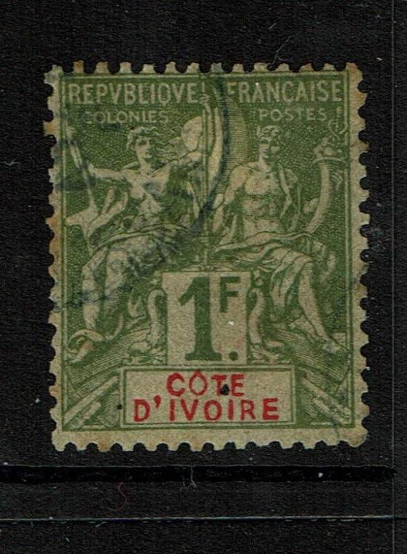 Ivory Coast SC# 17, Used, Hinge Remnant, expert mark, perf 14 x 13.5 - S3819