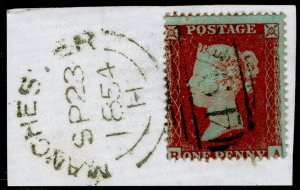 SG17, 1d red-brown PLATE 187, SC16 DIE I, FINE USED. Cat £45. ON PIECE