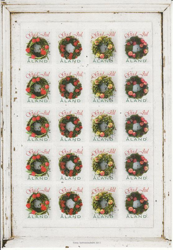Aland 2011 MNH Sheet of 20 Christmas Seals Wreaths 4 different