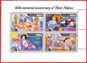 A4064 - MALDIVES - ERROR MISPERF, Miniature sheet: 2014, Art, Henry Matisse