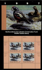 NEWFOUNDLAND #4M 1997 HARLEQUIN DUCK CONSERVATION STAMP MINI SHEET OF 4/ FOLDER