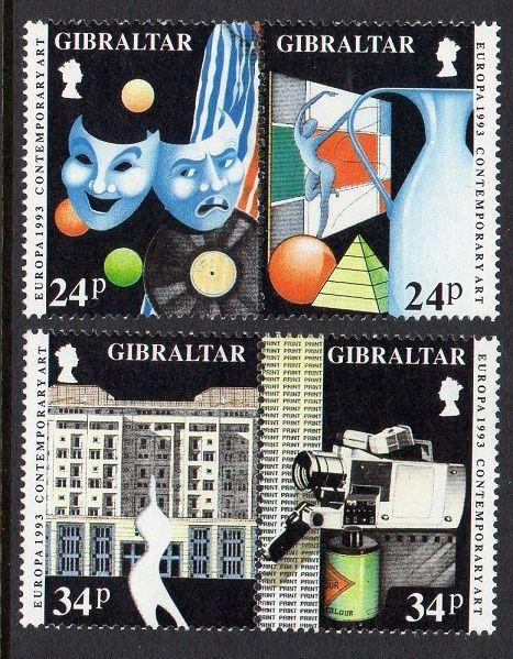 Gibraltar 1993 Europa Contemporary Art VF MNH (627a, 629a)