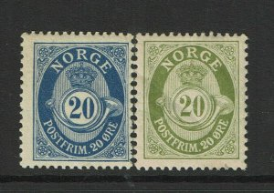 Norway SC# 85 & 86, Mint Hinged, Hinge Remnants, 86 few diagonal creases - S9385